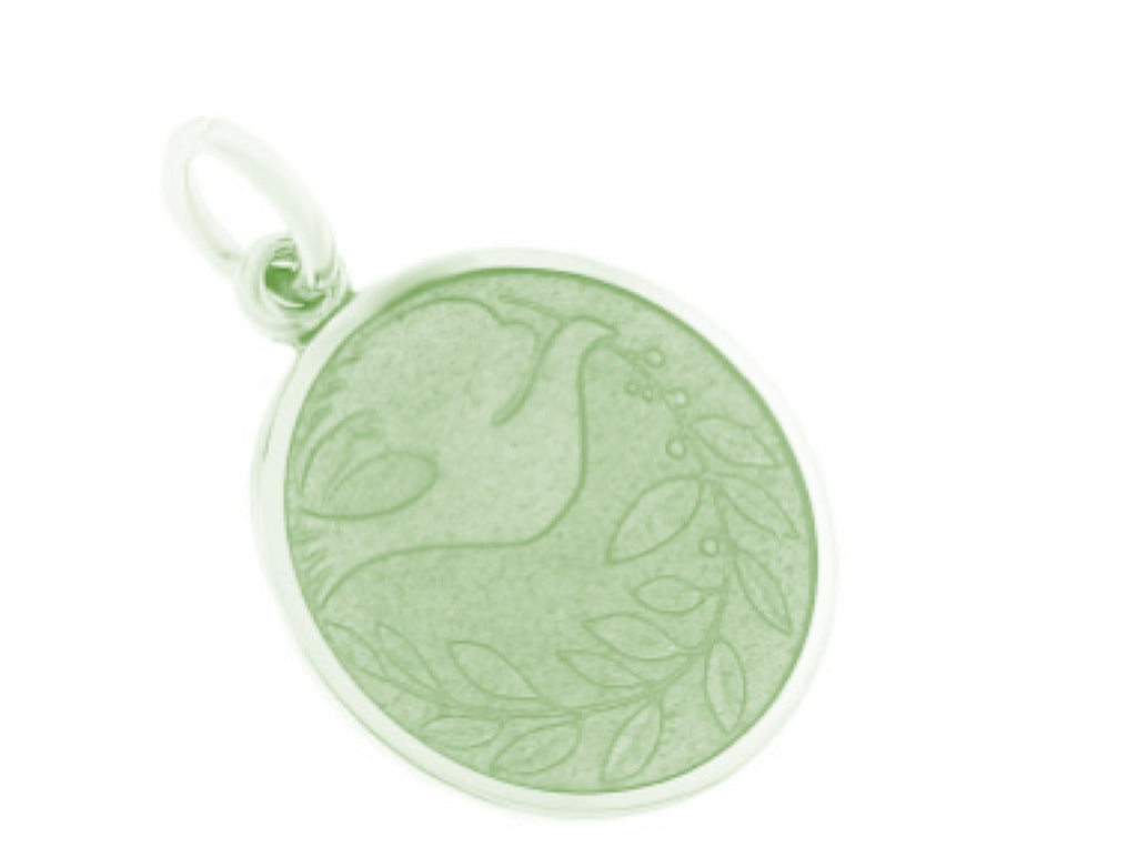 PALMER JEWELERS Enameled Sterling Silver Peace Dove Charm (Quarter Size)