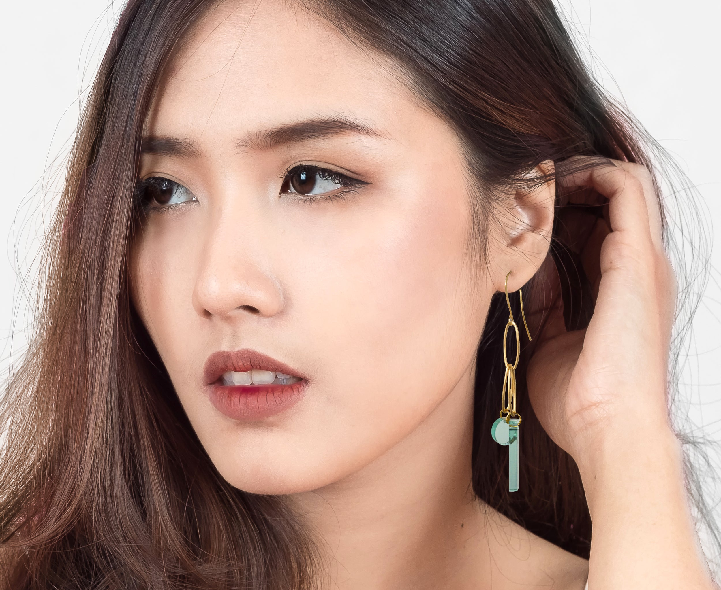 Glass & Gold Loop Earrings