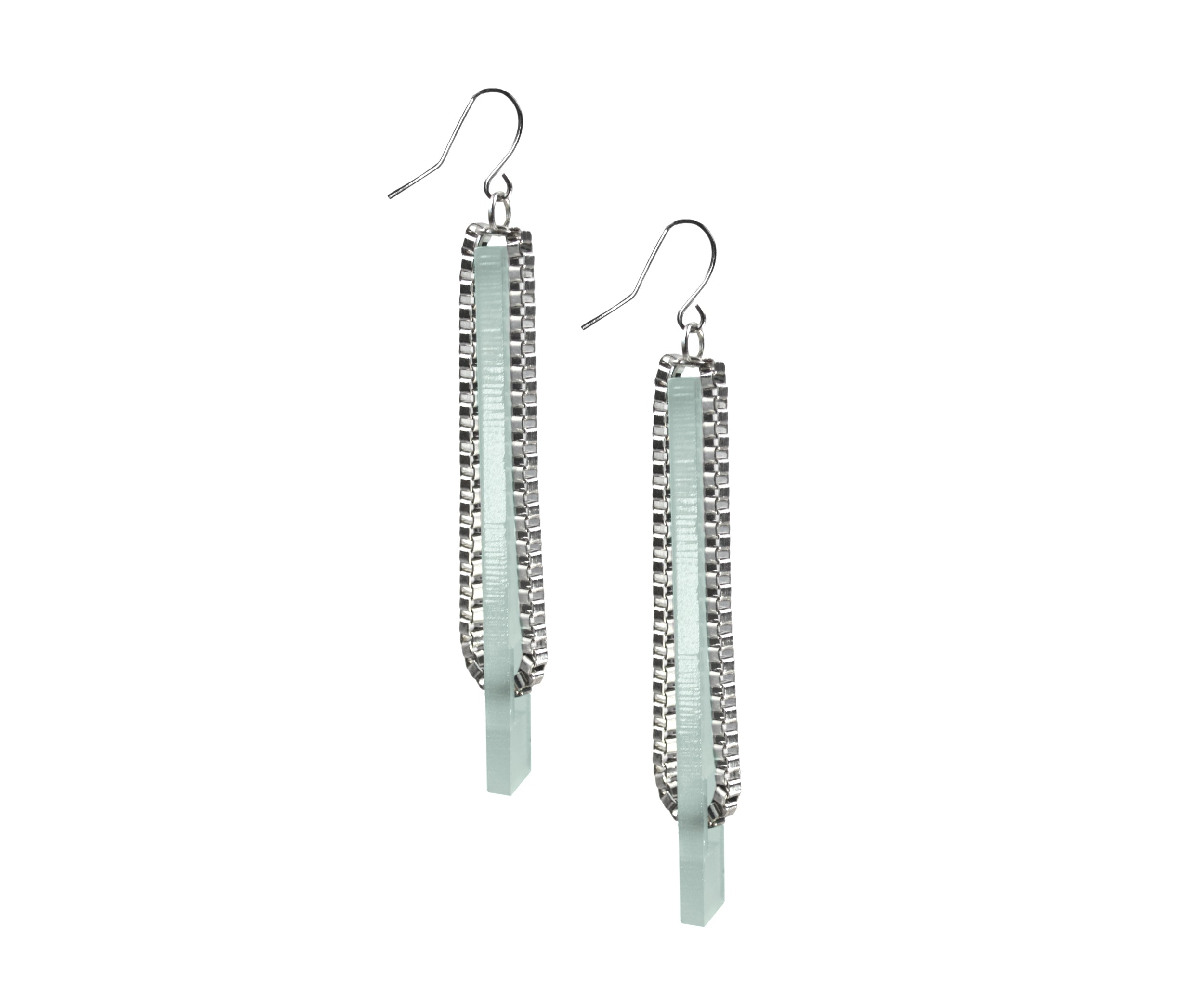 Silver Threaded Chain Plank Earrings