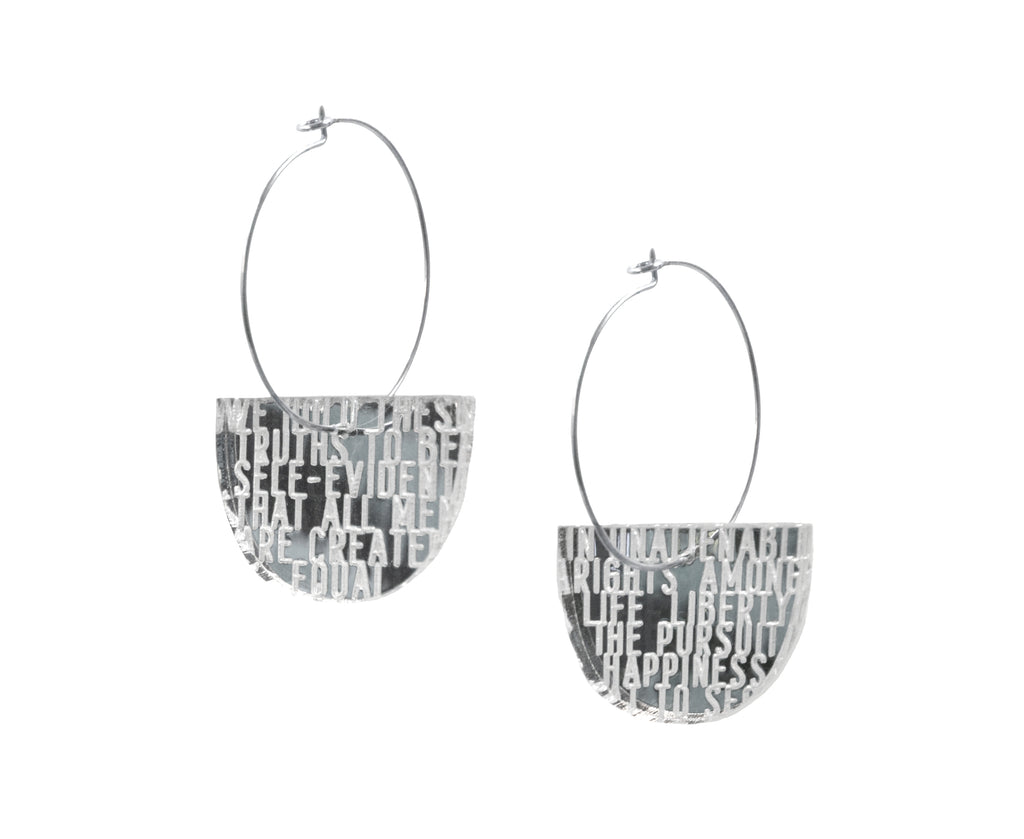 Bold Standard Mirror hoop earrings etched with words from the Declaration of Independence