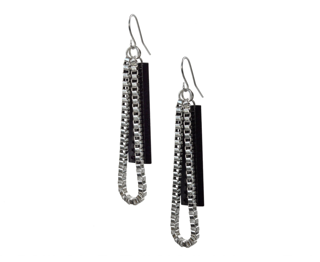 Silver & Black Box Chain Drop Earrings