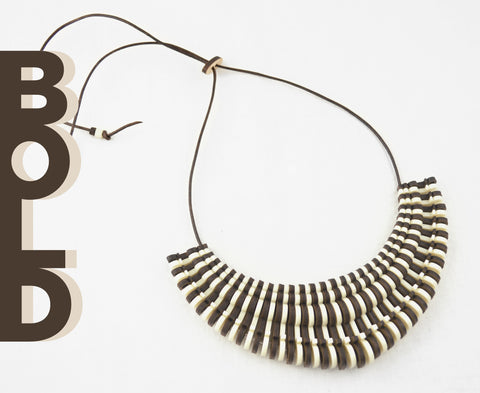 Wood & Bone 'Bold' Necklace - Adjustable