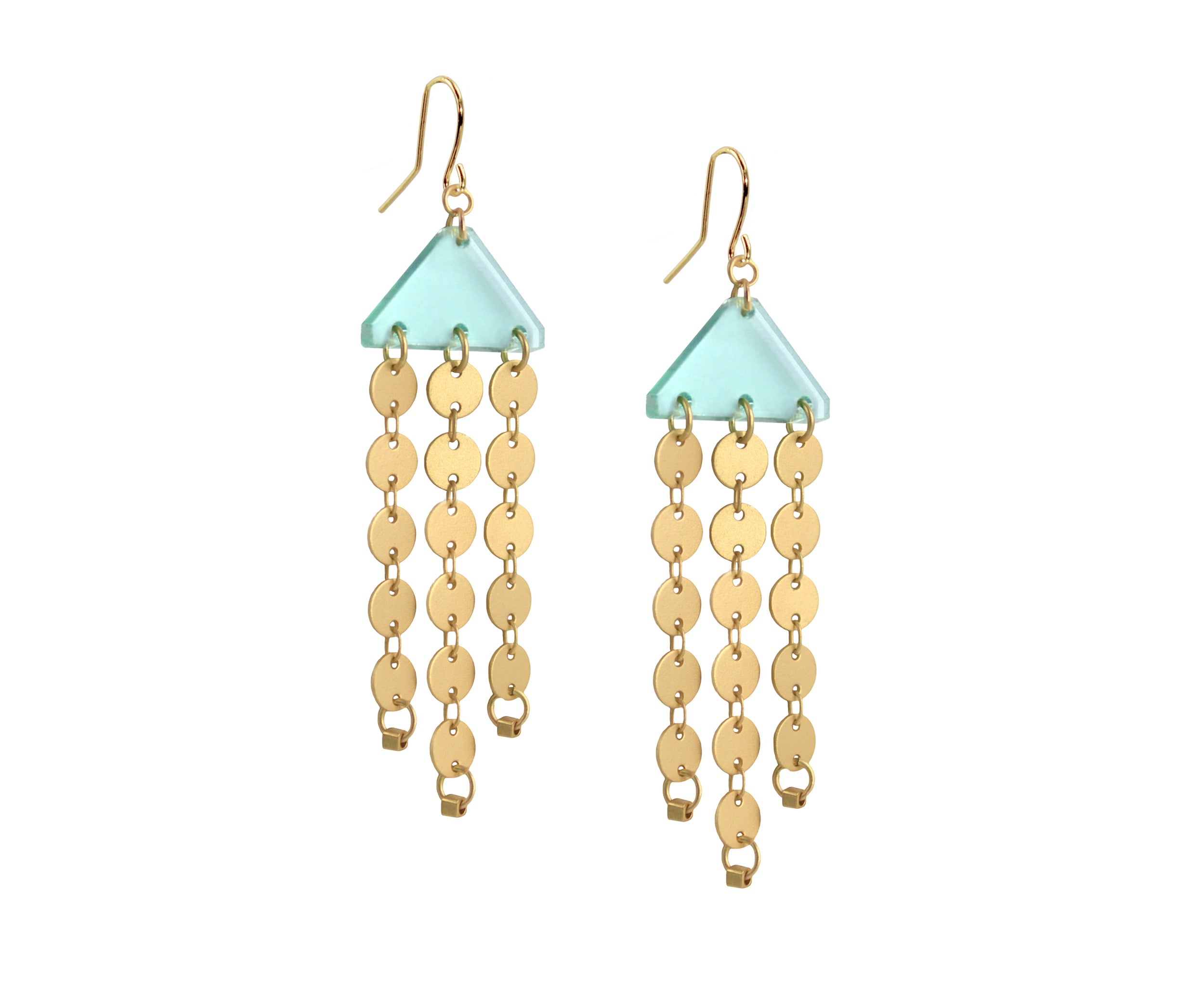 Pastel Lavender Gold Circles Chandelier Earrings