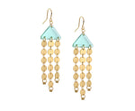 Chandelier earring made of three rows of gold circles and glass colored acrylic