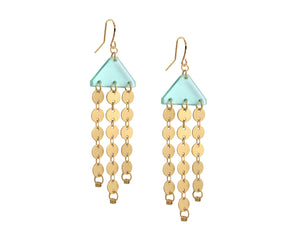 Wood & Gold Circles Chandelier Earrings