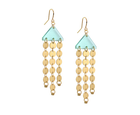 Glass & Gold Circles Chandelier Earrings