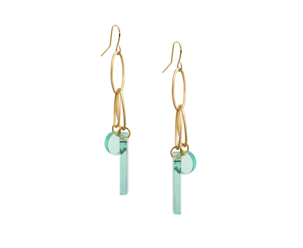 dangle earrings with matter gold ovals and glass colored acrylic