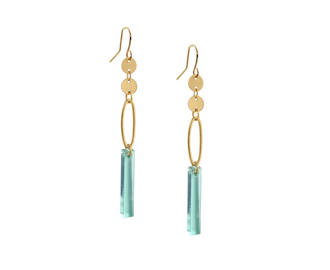 Glass & Gold Ellipse Plank Earrings