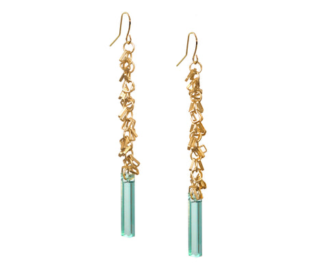 Glass & Gold Fringe Earrings
