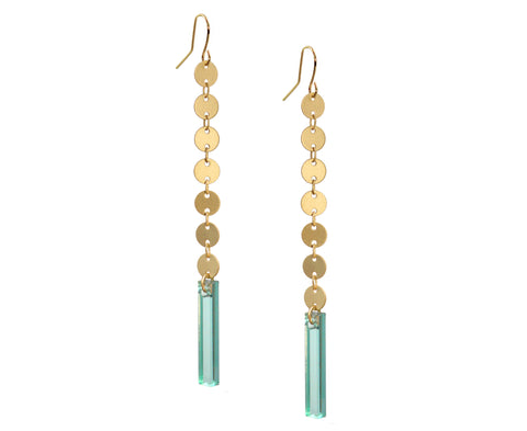 Glass & Gold Circles Cascade Earrings