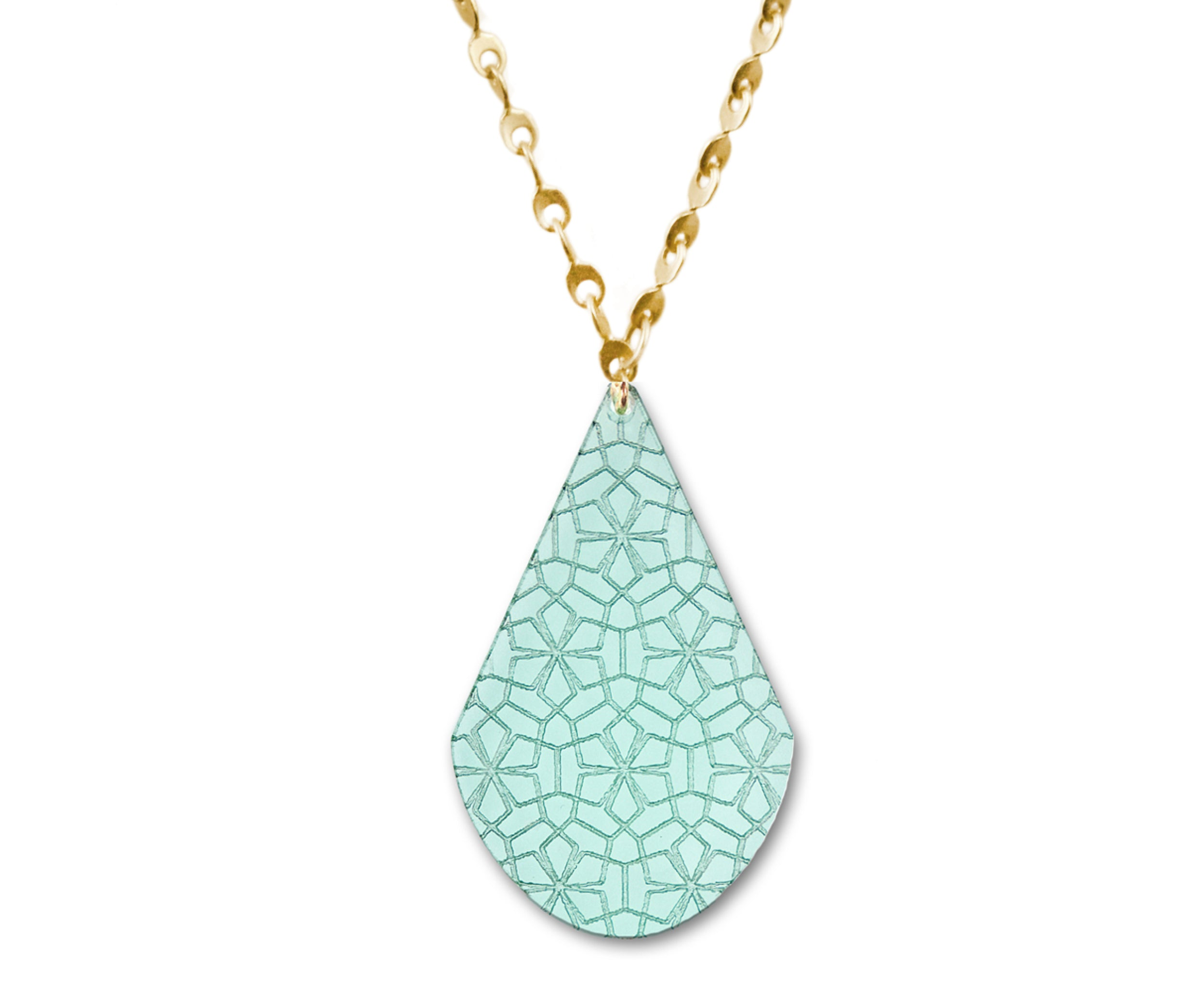 Glass Eyelet Chain Necklace with Etched Pendant