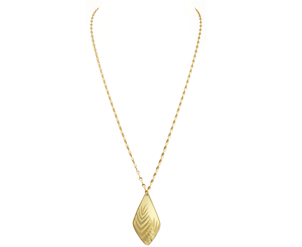 Gold Eyelet Chain Necklace with Etched Palm Pendant