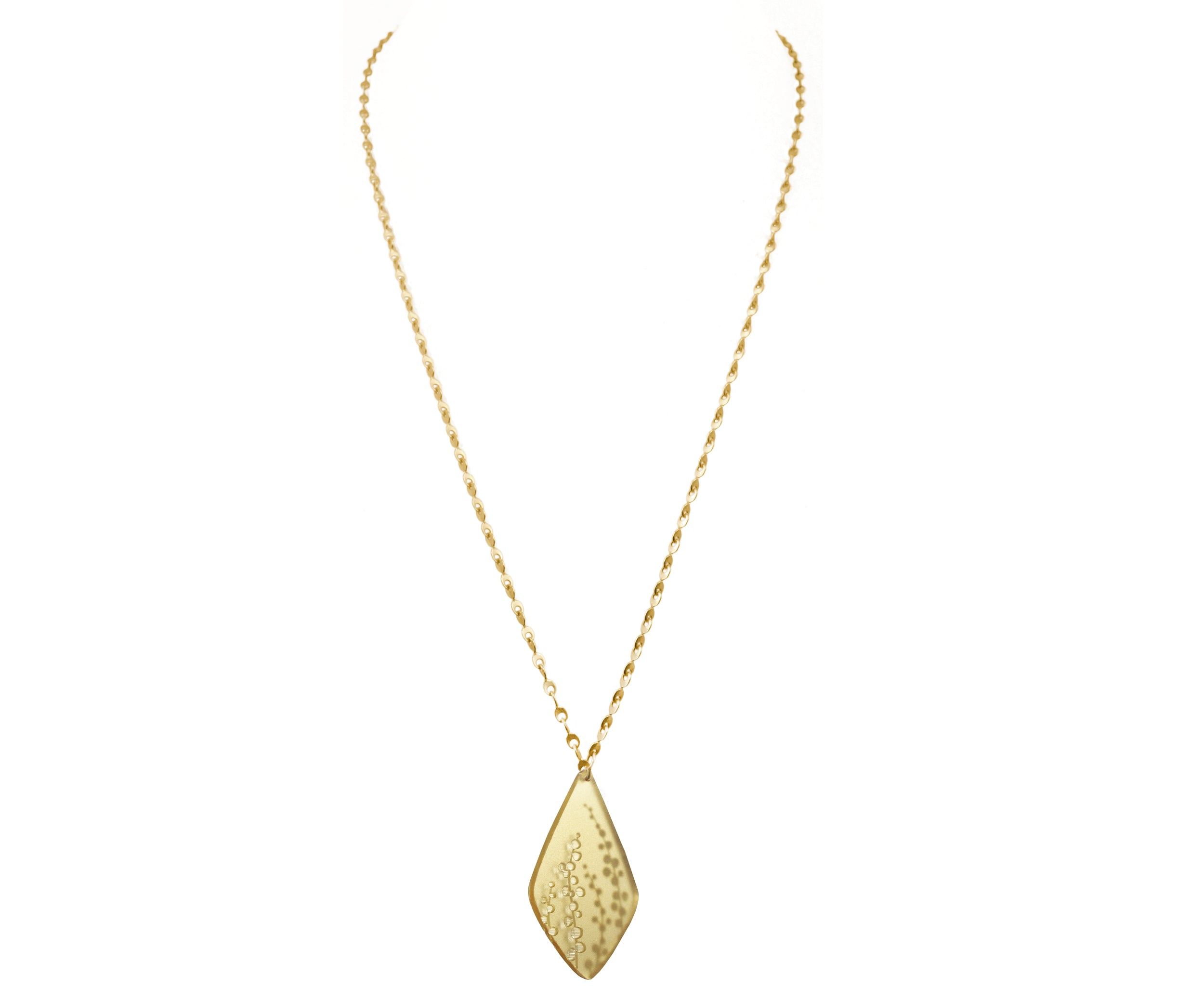 Gold Eyelet Chain Necklace with Etched Sprig Pendant