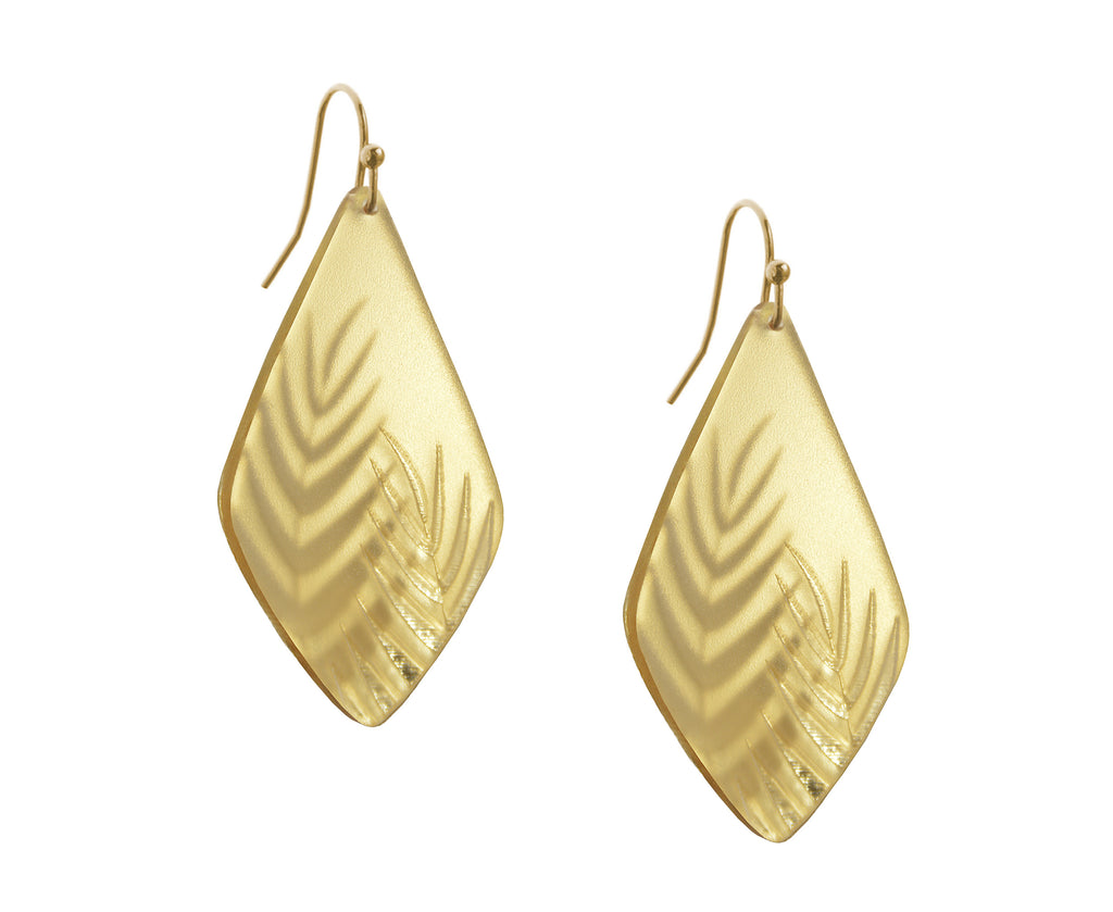 Gold Etched Palm Earrings