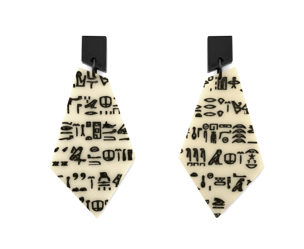 Bone Rosetta Stone Bone Earrings