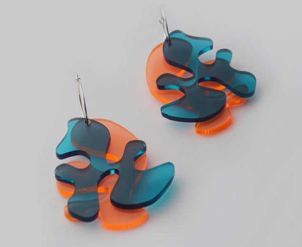Teal & Salmon 'Matisse' Earrings