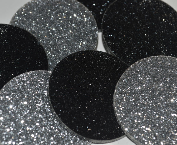 Black & Peach Glitter Disc Earrings