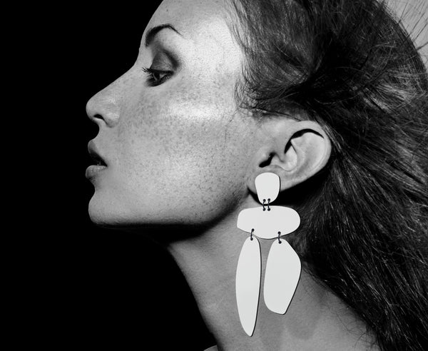 White Hot 'Pebble' Earrings