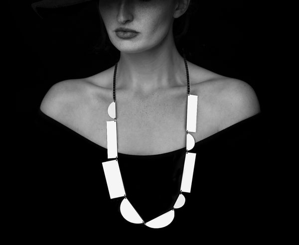 White Hot 'Geo Stack' Reversible Necklace