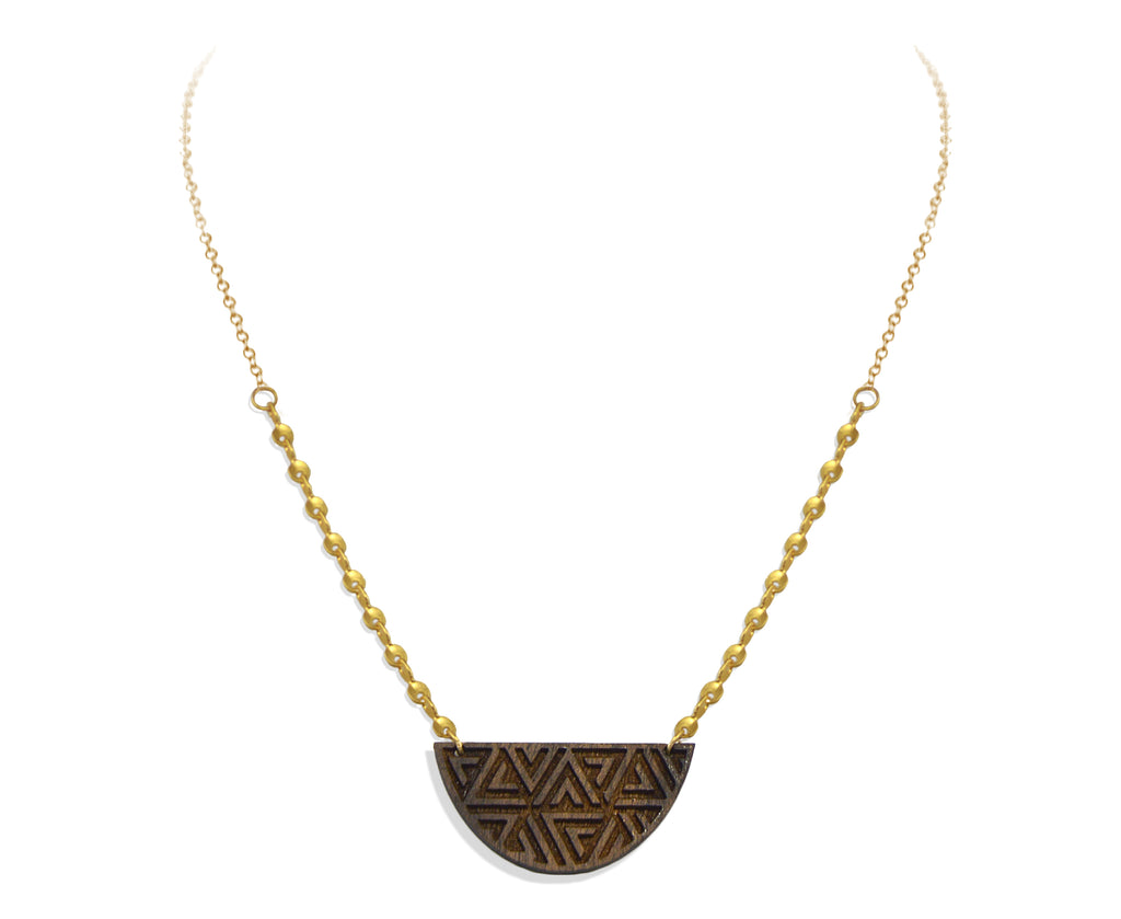 Wood & Gold Triangle Pattern Semicircle Necklace