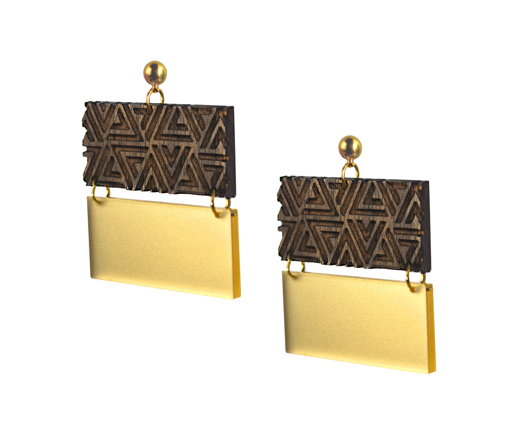 Wood & Gold Triangle Pattern Big Square Earrings