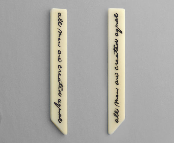 Bone 'Equality' Earrings - Lincoln's Handwriting - Gettysburg Address