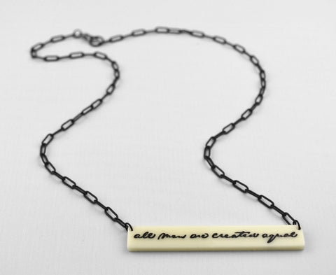 Bone 'Equality' Necklace - Lincoln's Handwriting - Gettysburg Address
