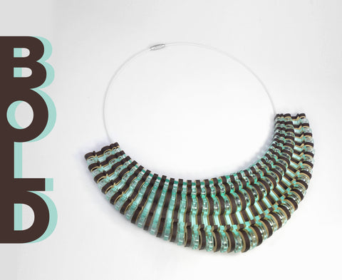 'Bold' Necklace – Wood & Glass