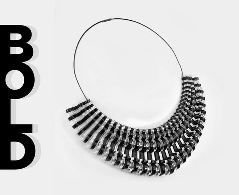 Black & Clear 'Bold' Necklace - Arc