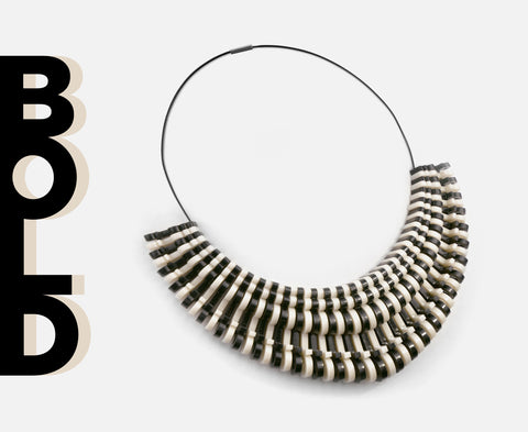 'Bold' Necklace – Bone & Black