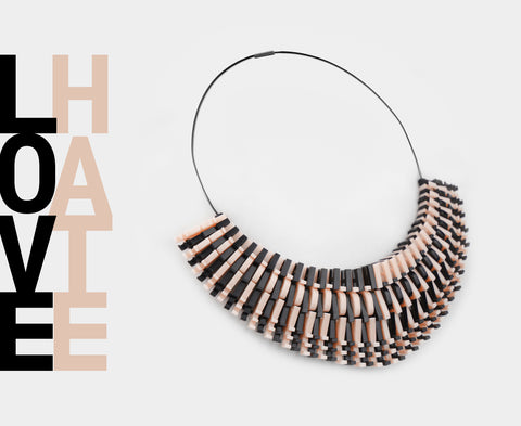 'Love Hate' Necklace – Black & Peach