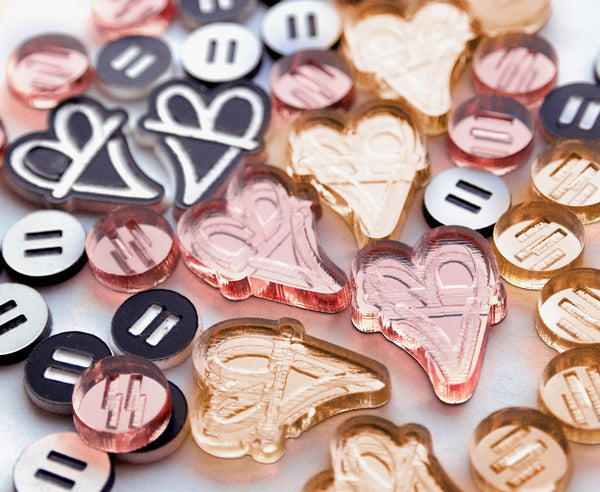 Rose Mirror 'B. Love' Heart Earrings