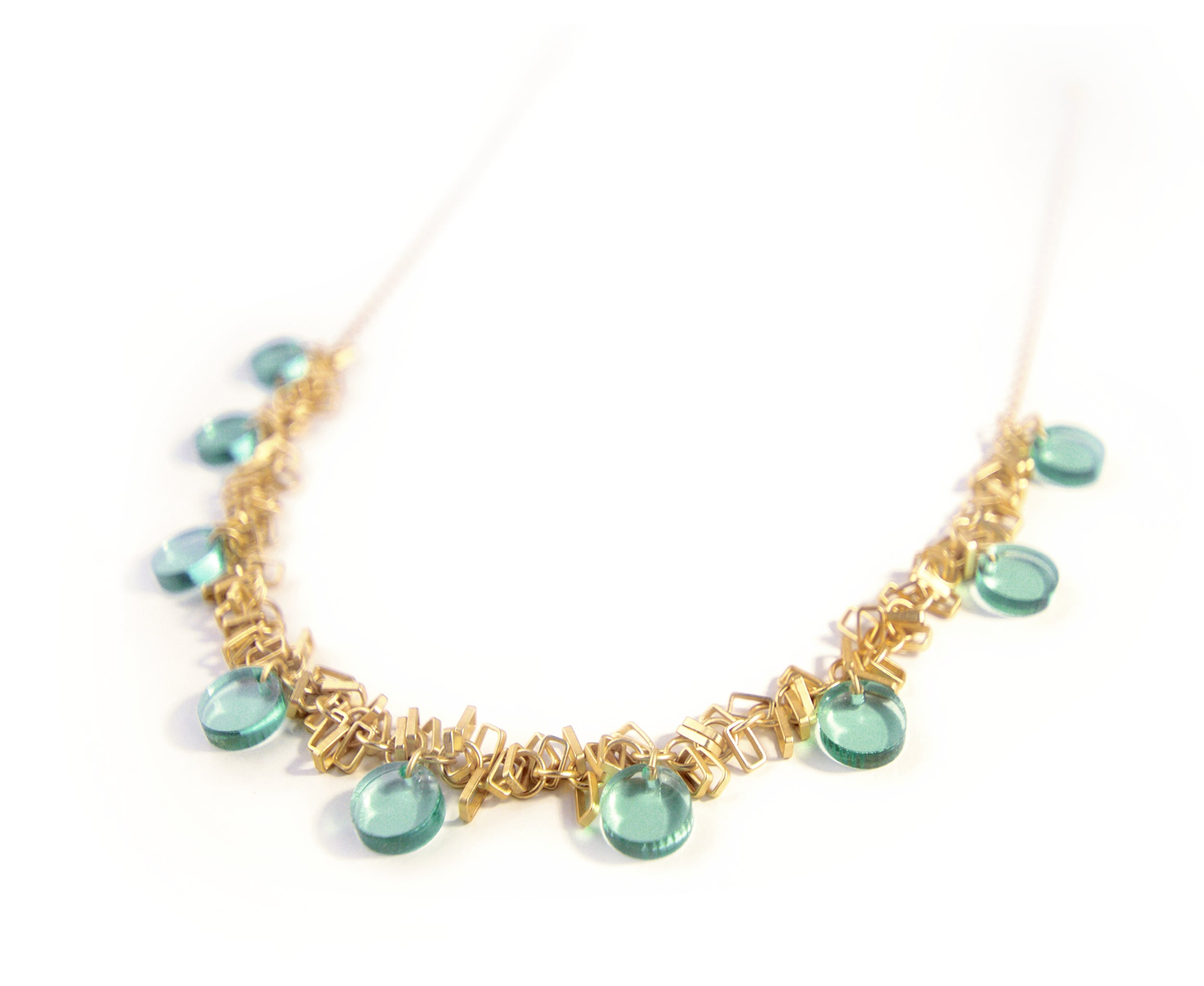 Gold Fringe and 'Glass' Circles Necklace