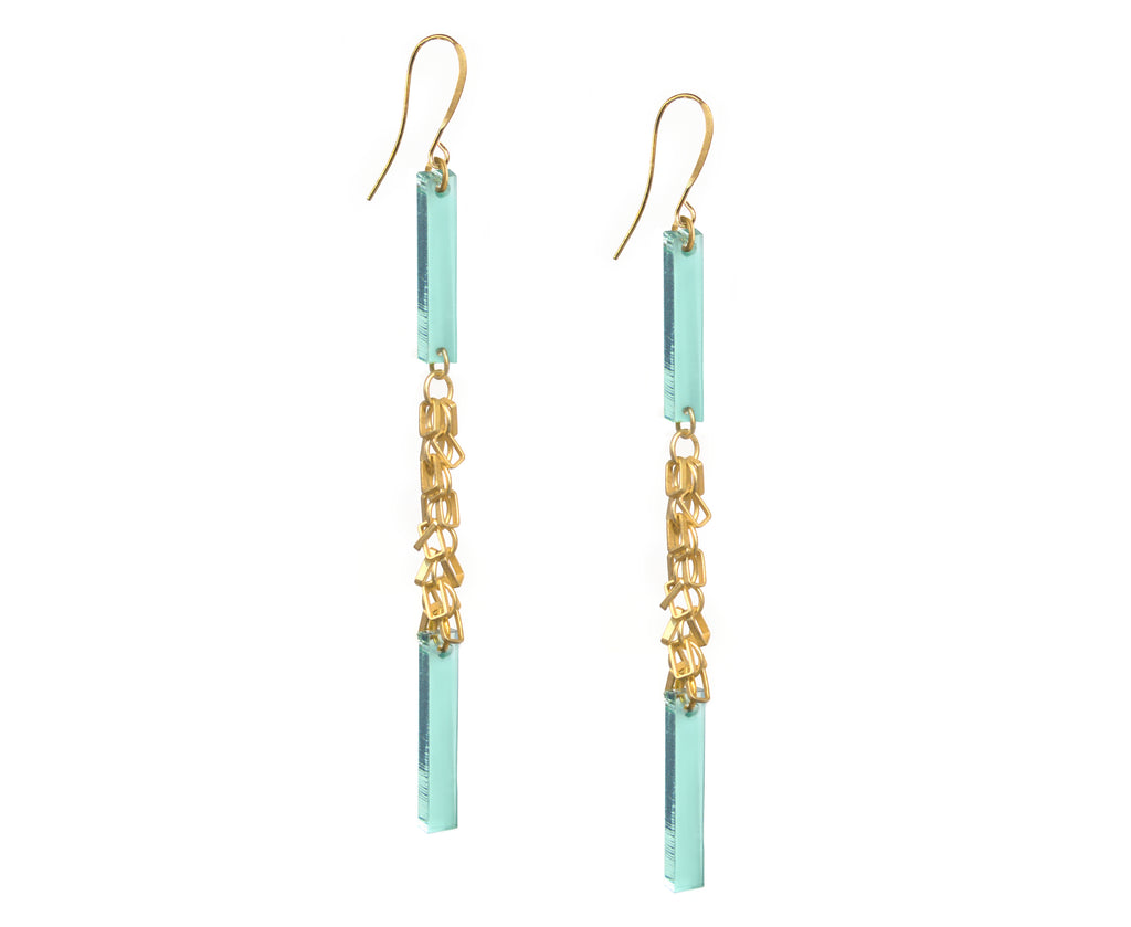 Gold Fringe Double Plank Earrings • Glass