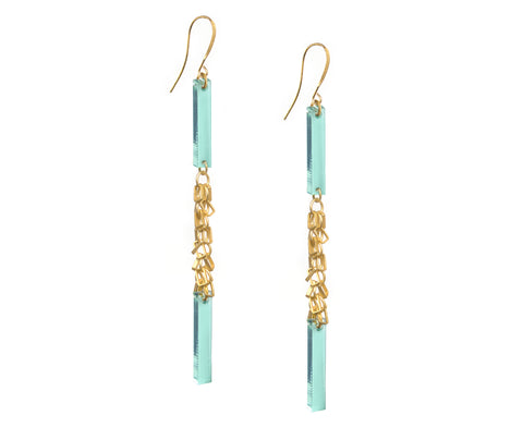 Glass & Gold Fringe Double Plank Earrings • Glass