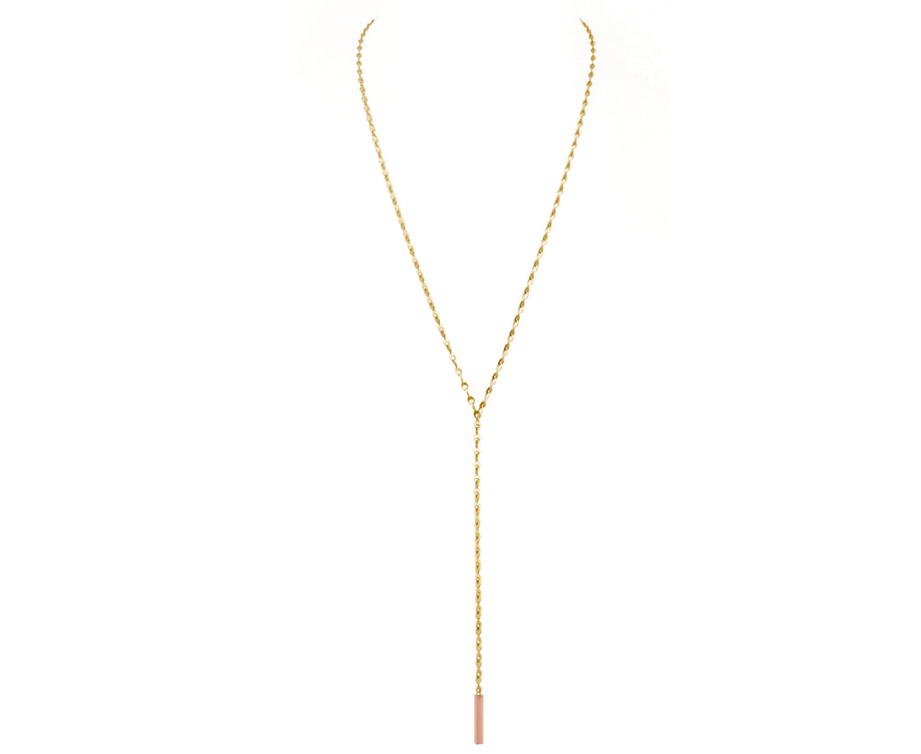 Pastel Peachy Eyelet Chain Lariat Necklace