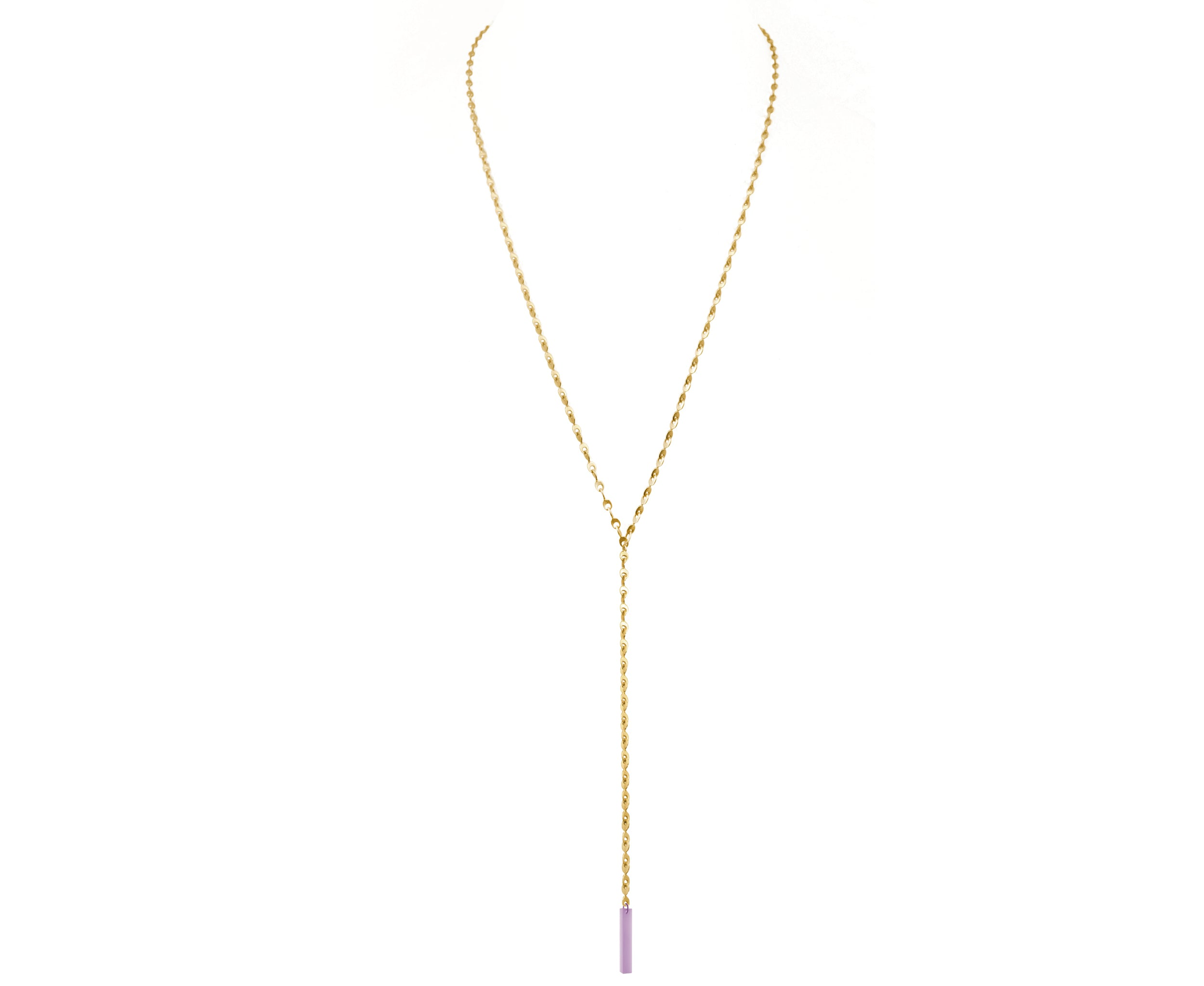 Glass & Gold Eyelet Chain Lariat Necklace