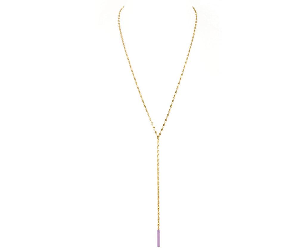 Pastel Lavender Eyelet Chain Lariat Necklace
