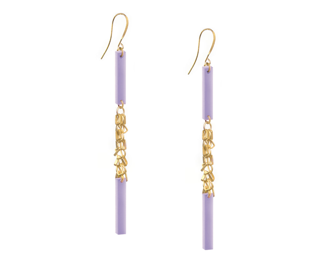 Pastel Lavender Gold Fringe Double Plank Earrings