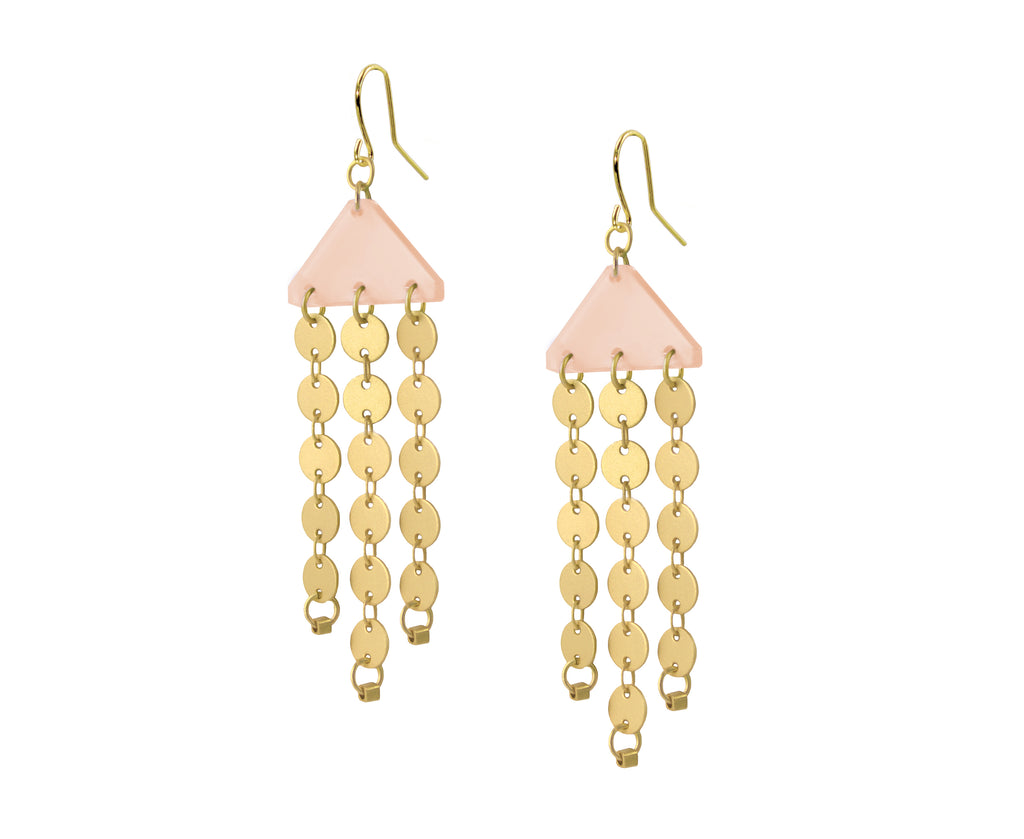 Pastel Peachy Gold Circles Chandelier Earrings