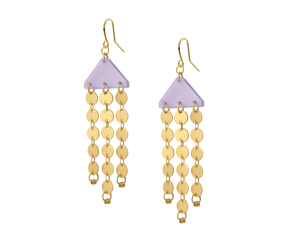 Gold Circles Chandelier Earrings • Lavender
