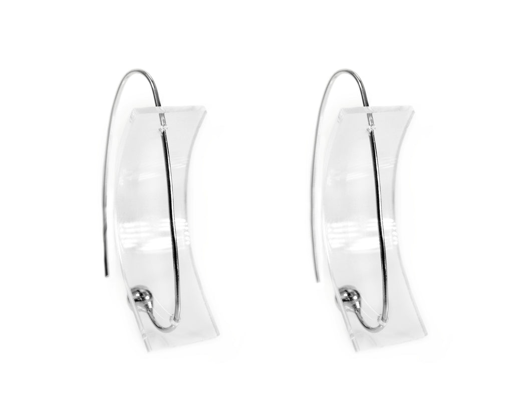 Clear Suspension Curve Earrings