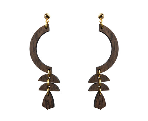 Wood Curve Tribal Graphic Earrings