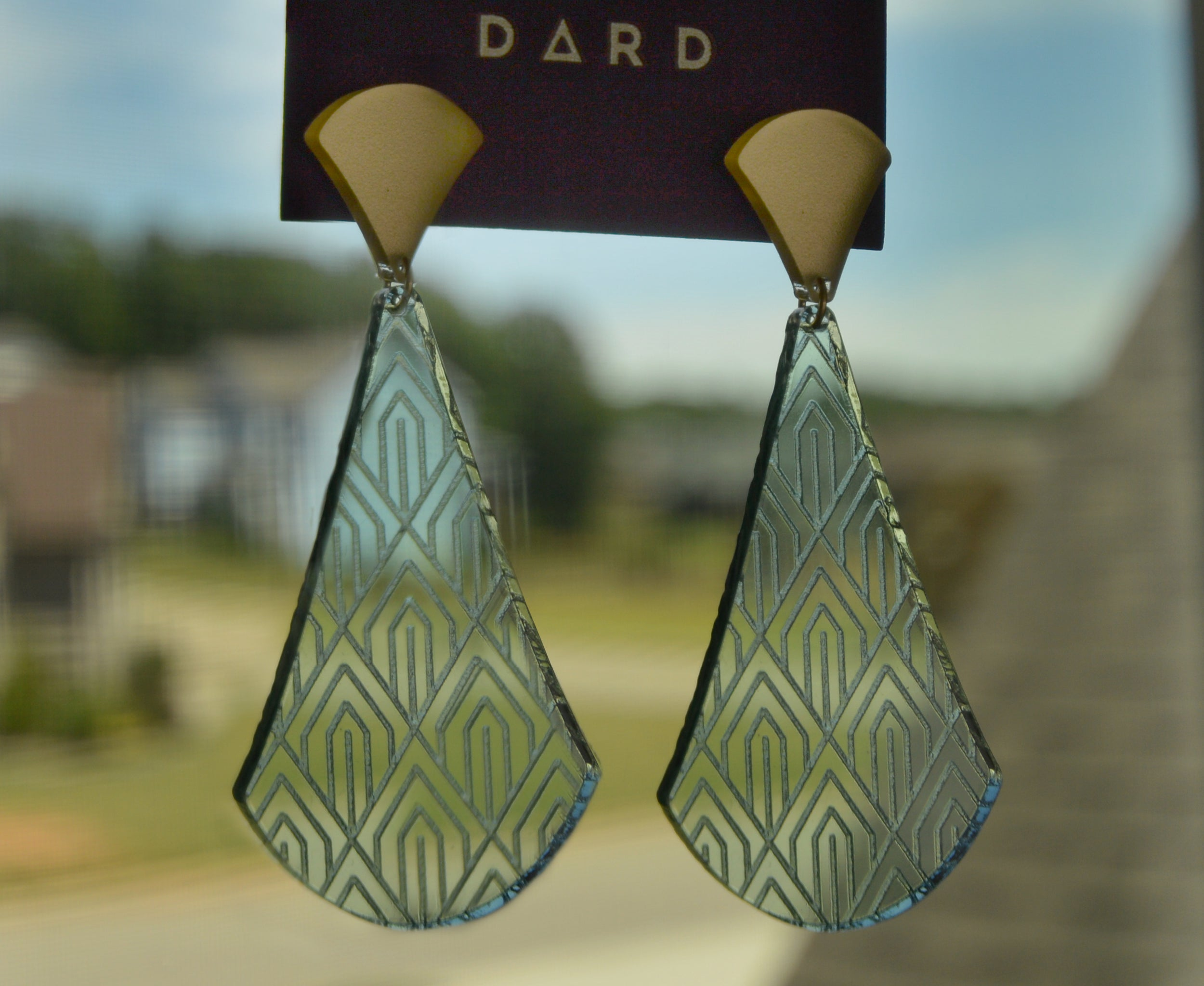 Etched Glass Art Deco Pendulum Earrings