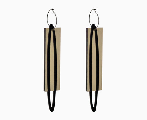 Black & Bronze 'Ellipse & Plank' Earrings