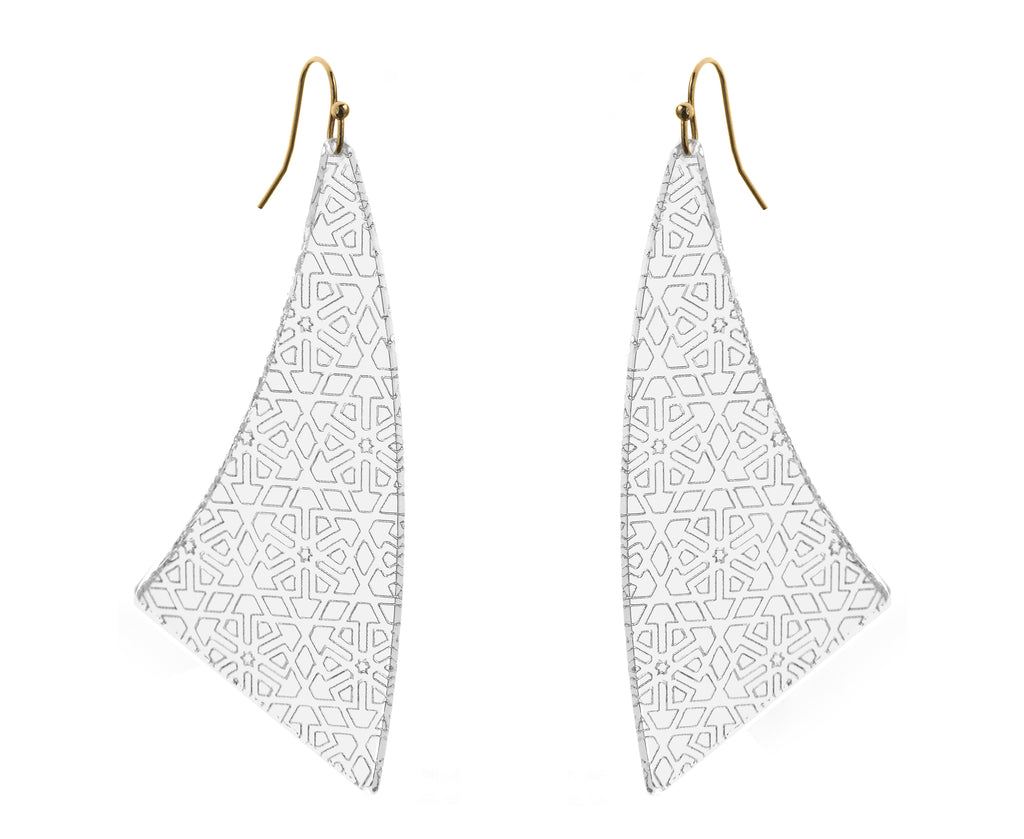 Earrings made of clear acrylic etched with geometric pattern
