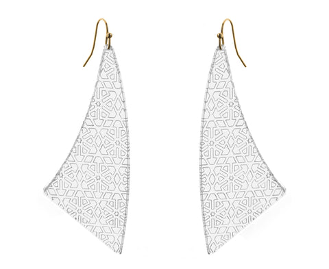 Clear Etched Geometric Pattern Earrings