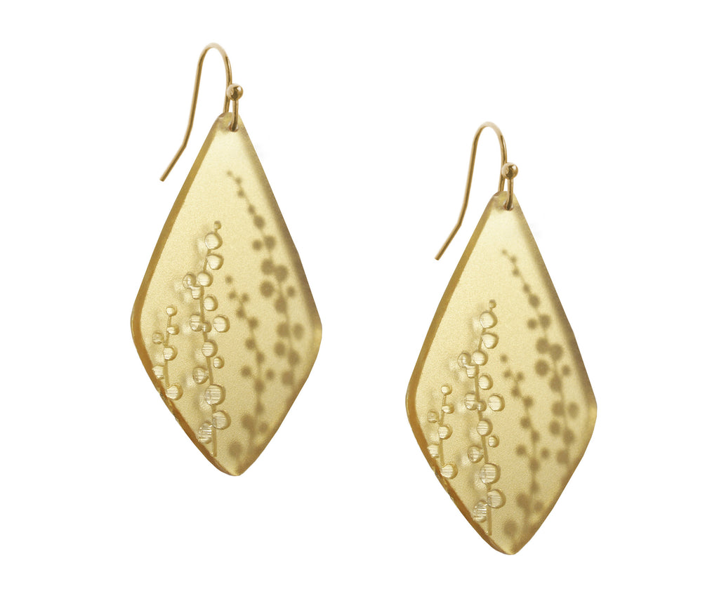 Gold Etched Sprig Earrings