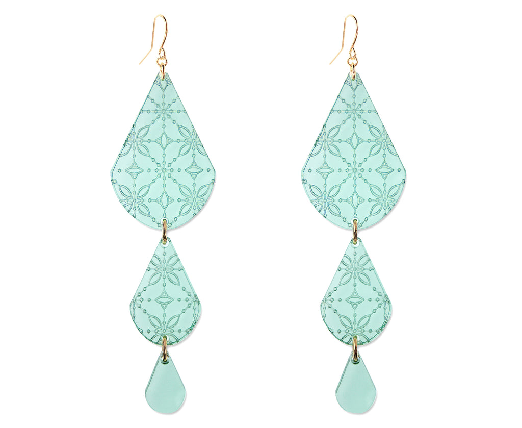 Earrings made of glass colored tear drops etched with intricate patterns