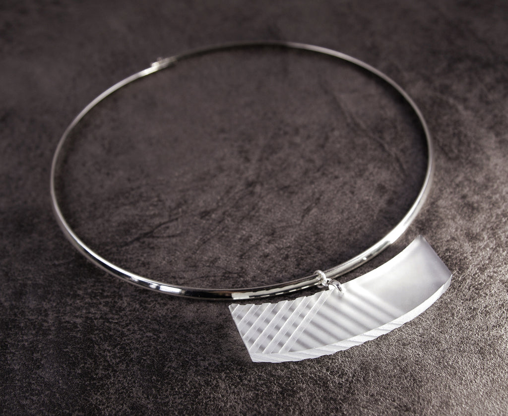 silver collar necklace with frosted acrylic pendant with etched lines